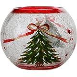 Home-X Christmas Tree Crackle Glass Candleholder