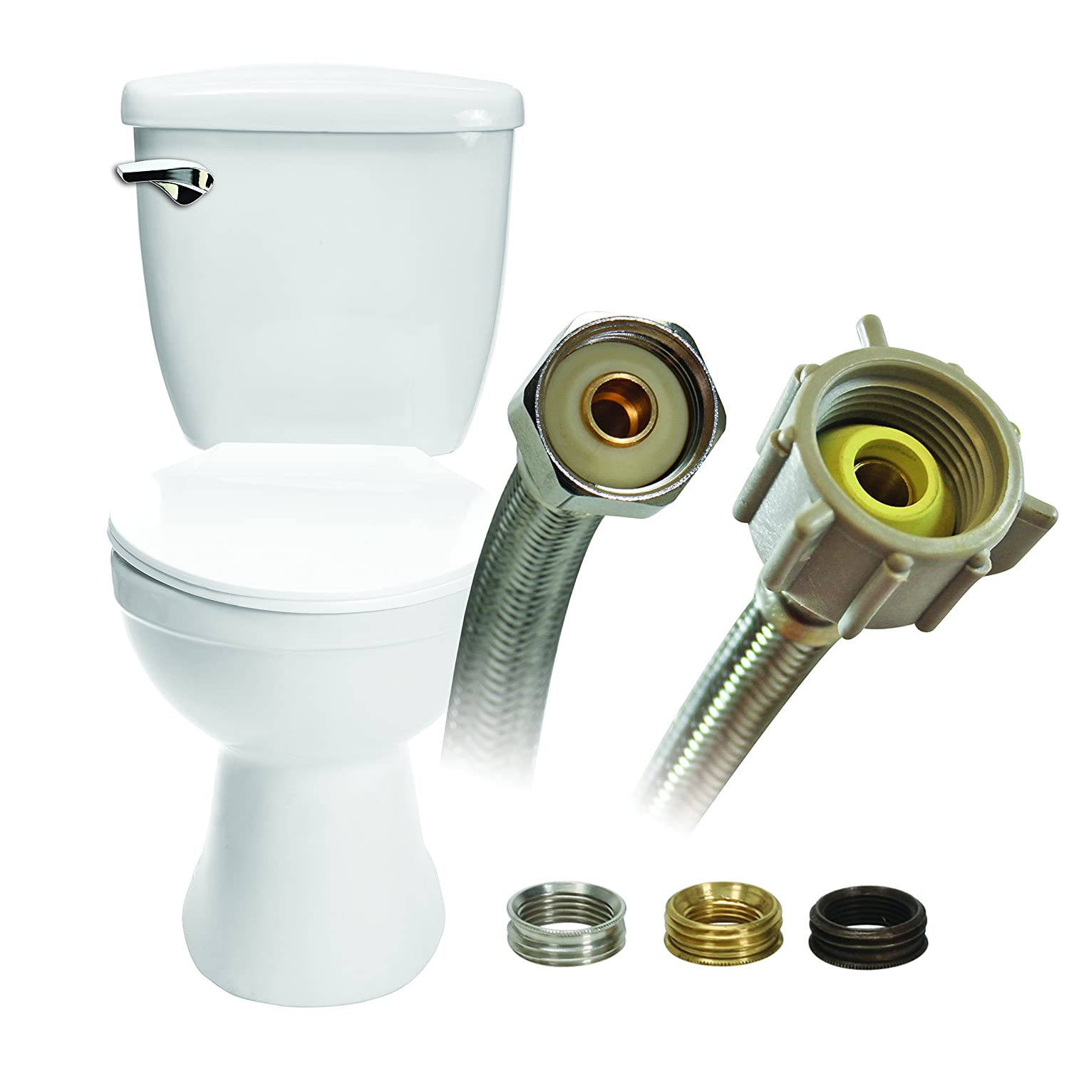 Fluidmaster B4T12U Universal Toilet Connector With Size Adaptors, Braided Stainless Steel - 3/8 Compression, 7/16 Compression, 1/2 Compression Or 1/2 F.I.P. ...