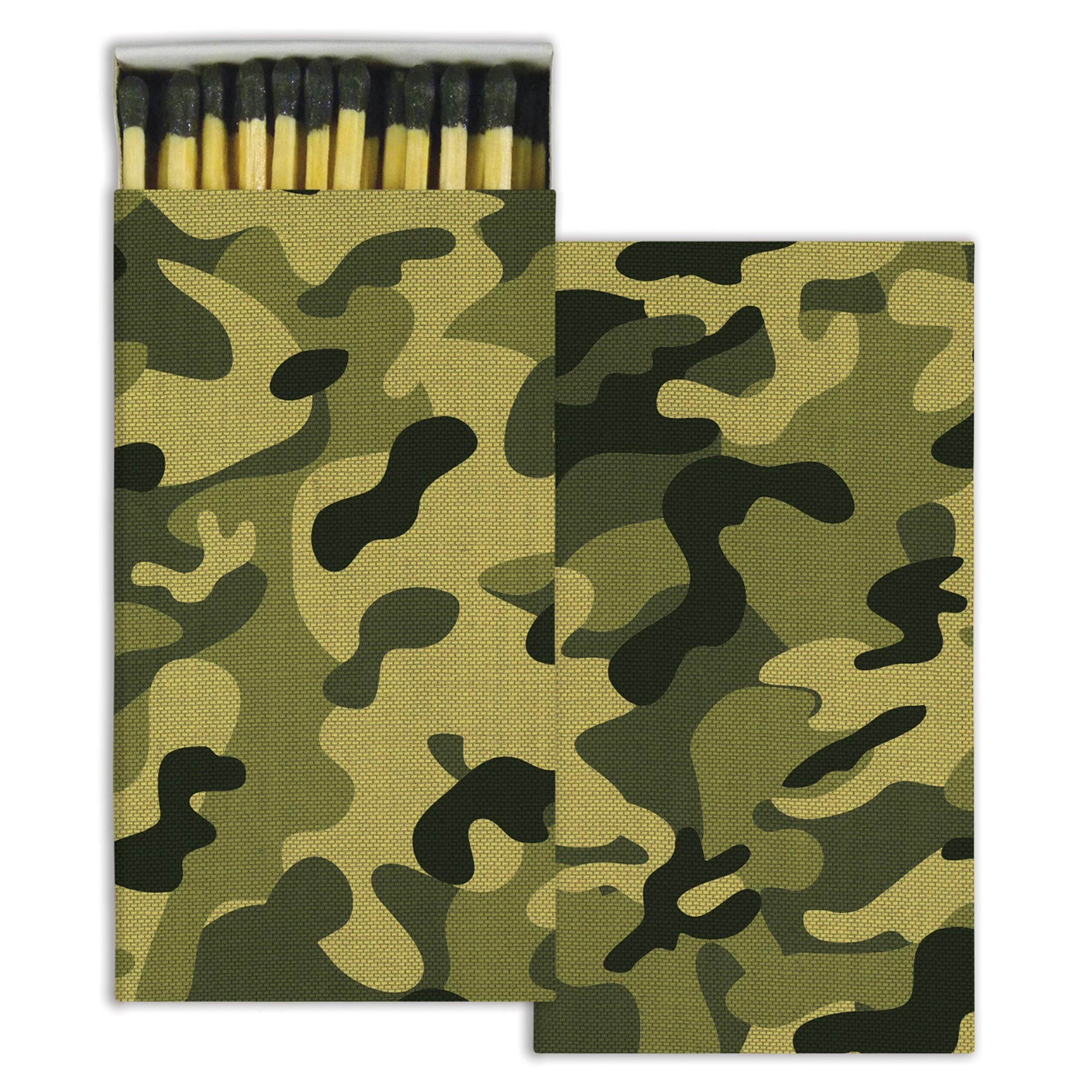 Camouflage Match Boxes with Wooden Matches (Set of 10)