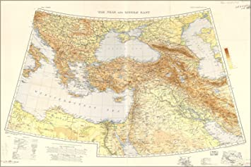 Amazoncom 24x36 Poster War Office Map Middle East  Balkans