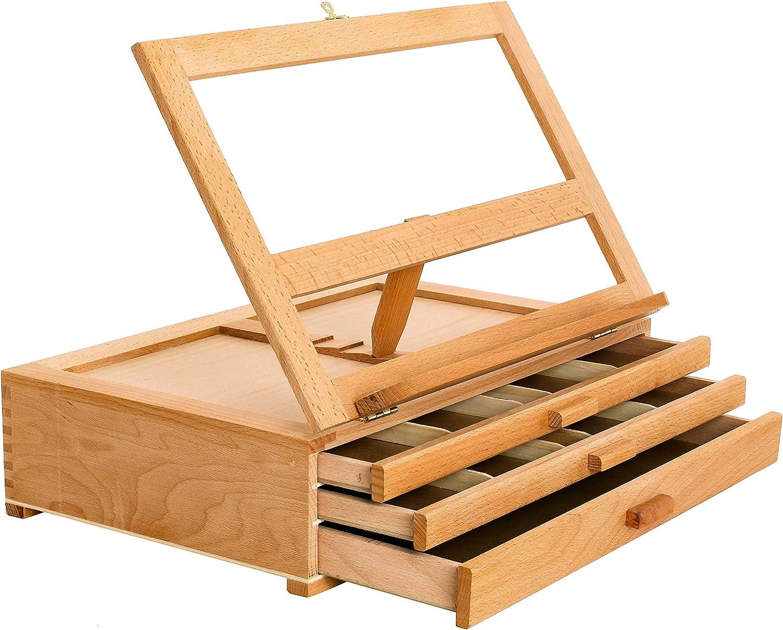 Caballete de madera ajustable 3 cajones para almacenamiento