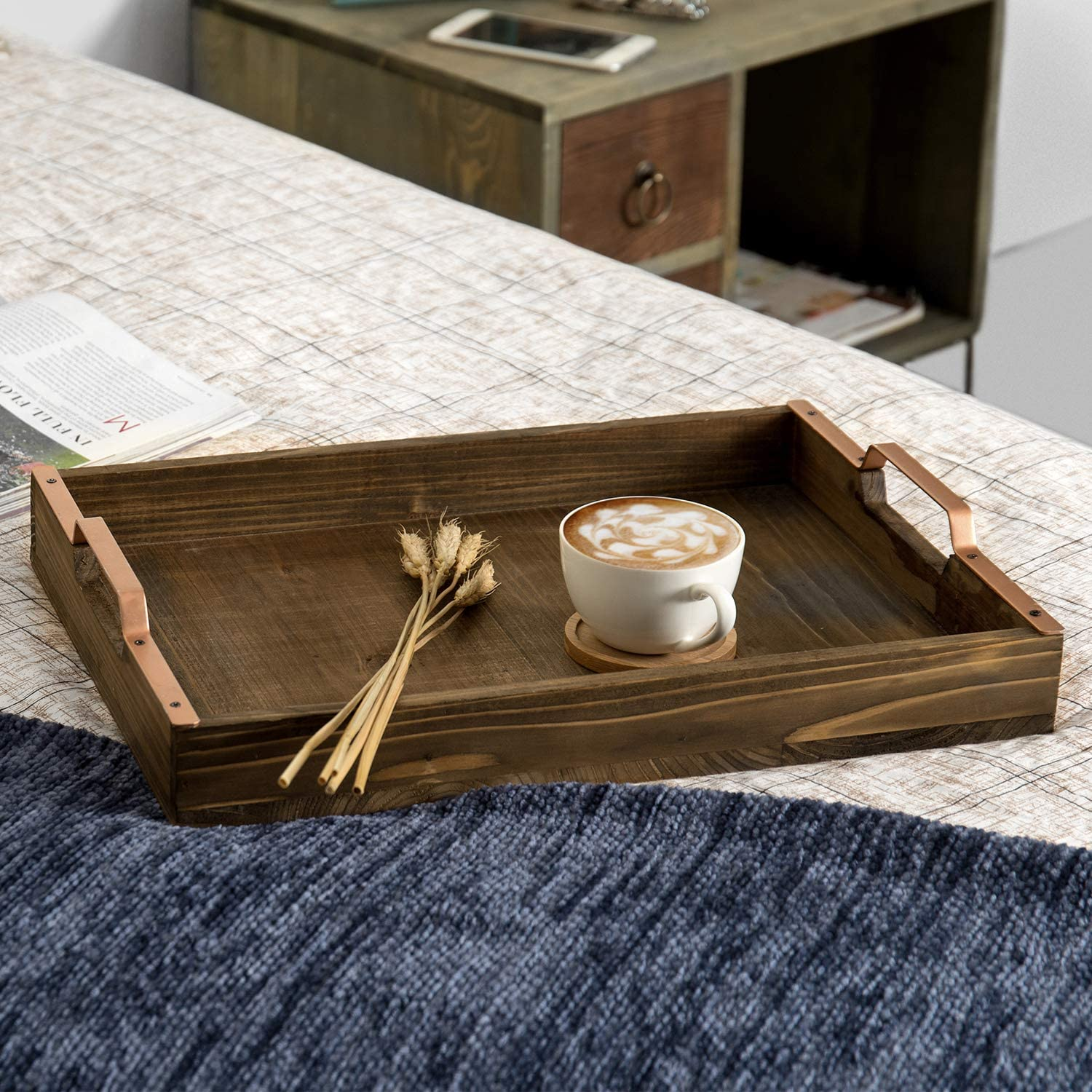 MyGift Rustic Burnt Wood 16-inch Breakfast Serving Tray with Copper-Tone Metal Handles