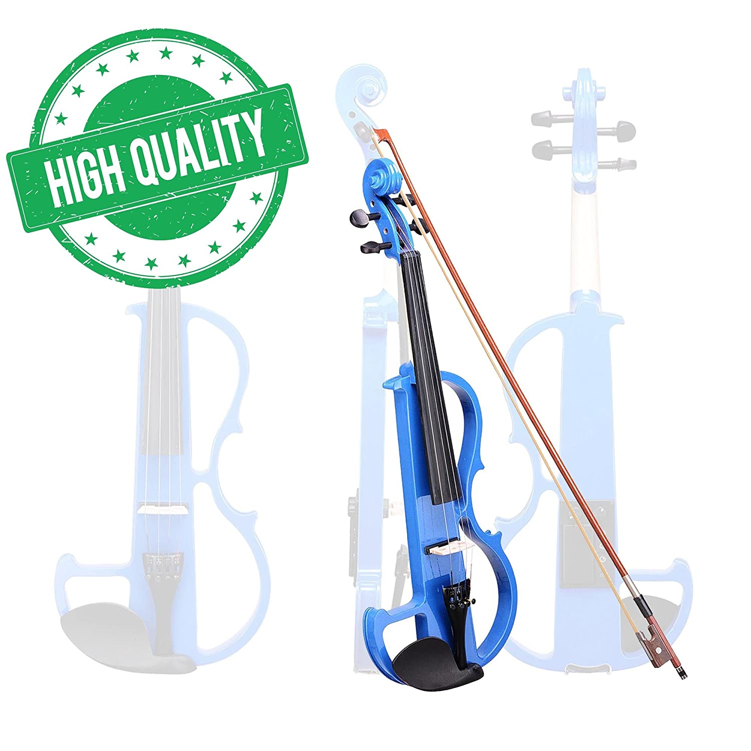 Koval Inc. Full Size Silent Electric Violin Headphone Set Wood w/ Case (Blue)