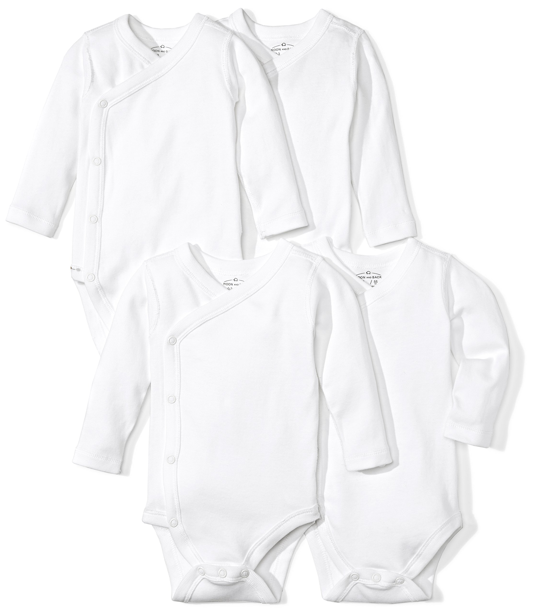 Moon and Back Baby Set of 4 Organic Long-Sleeve Side-Snap Bodysuits, White Cloud, 3-6 Months