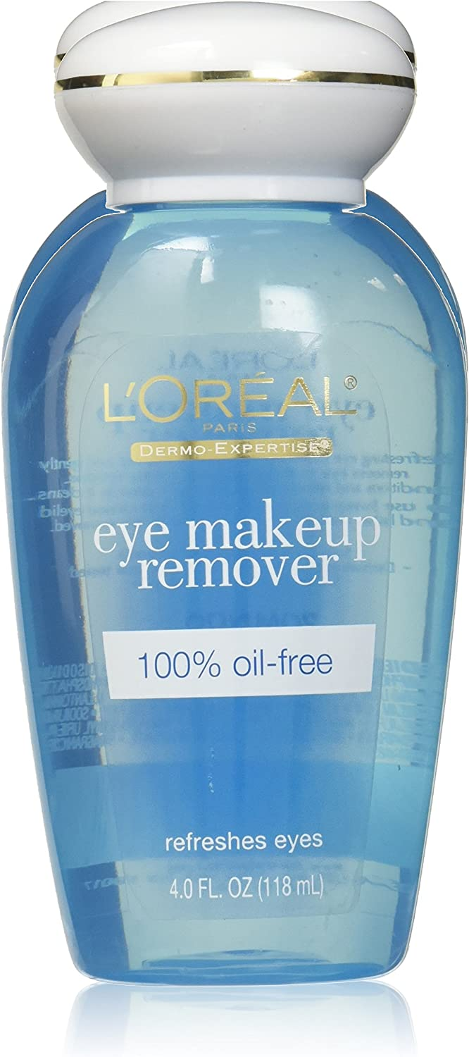 Loreal Dermo-Expertise Eye Makeup Remover 4 Ounce 100% Oil-Free (118ml) (Pack of 3)