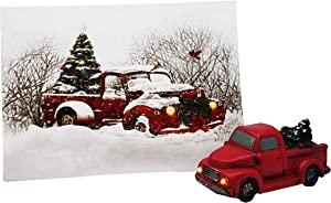 SeasonsEasy Red Truck LED Canvas Print Snow Scene Wall Art Changing Colors Christmas Tree with Auto Timer Lights with Small Red Vintage Red Truck LED Headlights - Tabletop Decorations