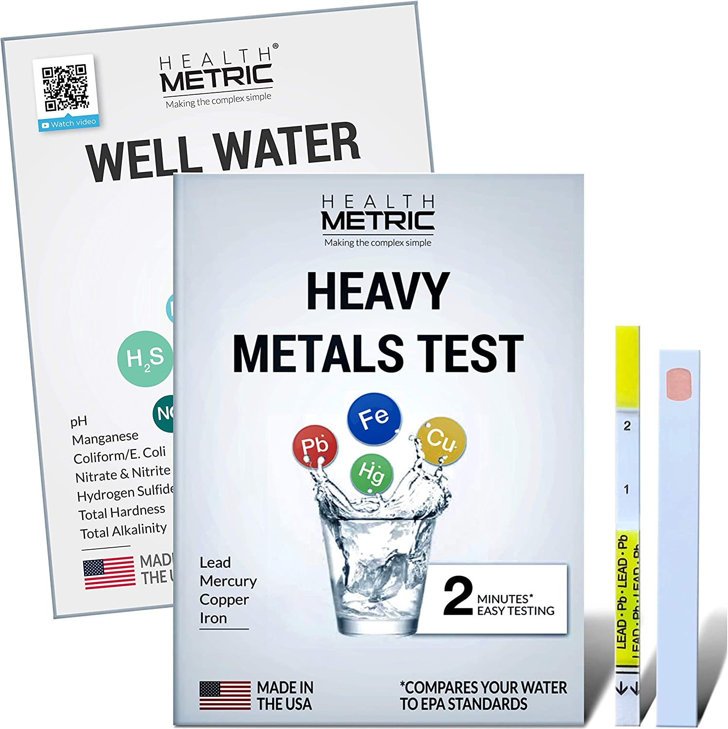 Well Water & Heavy Metals Test Kit for Drinking Water - Quick & Easy Home Water Testing Kit for Lead Iron Copper Bacteria Nitrate Nitrite pH Manganese & More | Made in The USA in Line with EPA Limits