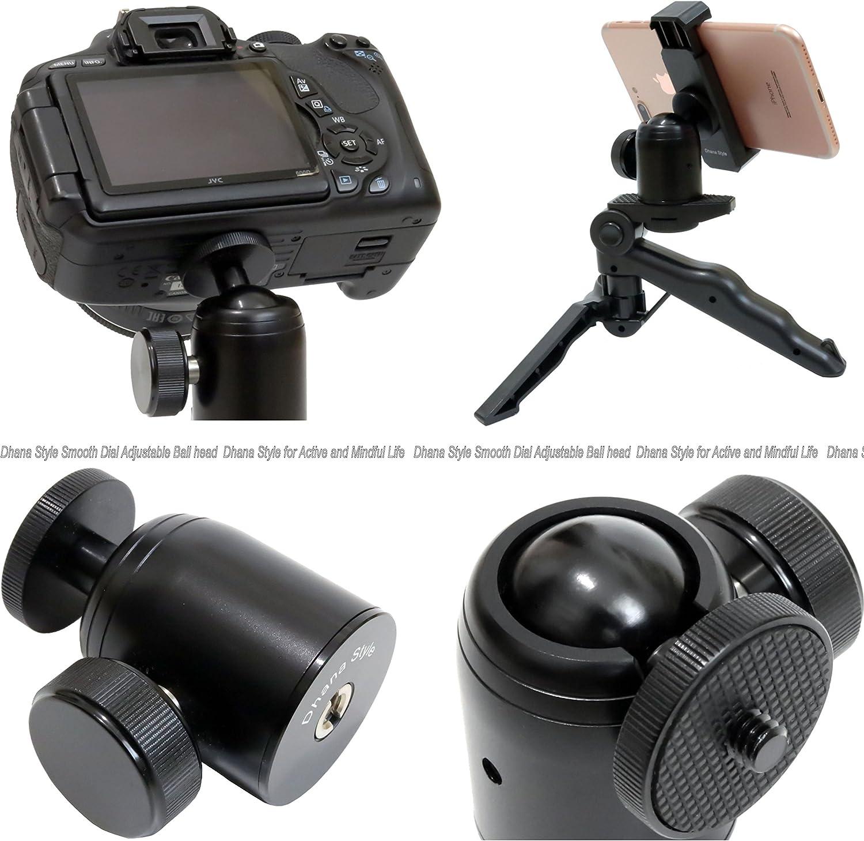 "Dhana Style Dial Smooth Adjustment Photography Ball Head 360 Degree Fluid Rotation Tripod Ballhead 1/4"" 3/8"" Thread Base Mount : Camera & Photo"