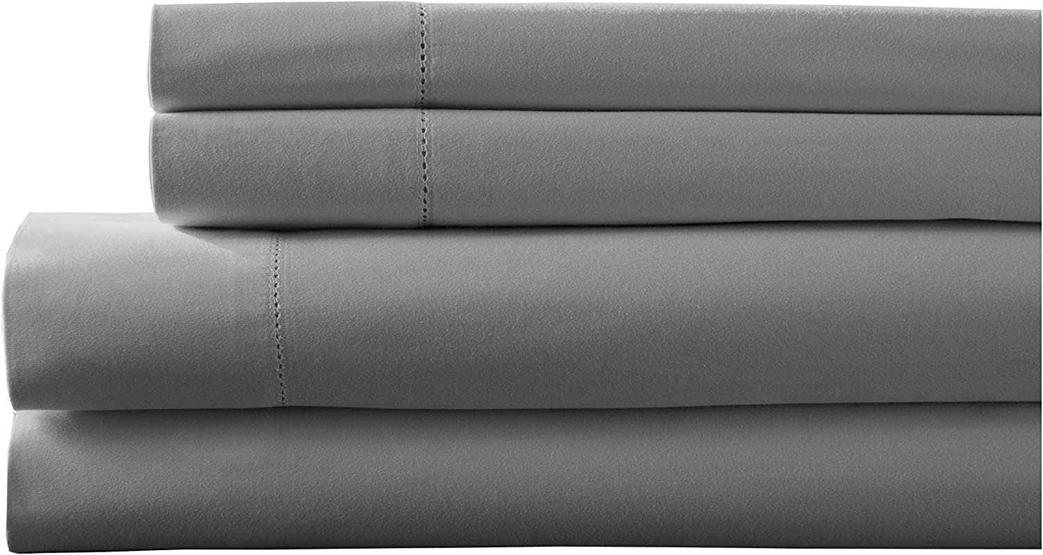 Elite Home Products Inc. Hemstitch 400 Thread Count Cotton Sateen Weave Solid Color Sheet Set, Grey, Twin XL