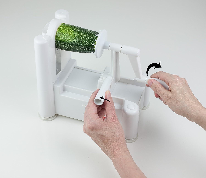Paderno World Cuisine 3-Blade Vegetable Slicer/Spiralizer, Counter-Mounted