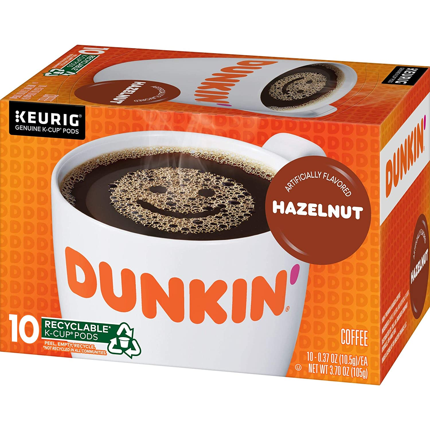 Dunkin' Hazelnut Flavored Coffee, 60 K Cups for Keurig Coffee Makers