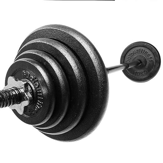 #DoYourFitness Barra Larga de musculación (120cm) con Cierre de Estrella, Incluye Discos (Pesas) de Hierro Fundido 100%, en Distintas Variantes: 30kg 27,5kg ...