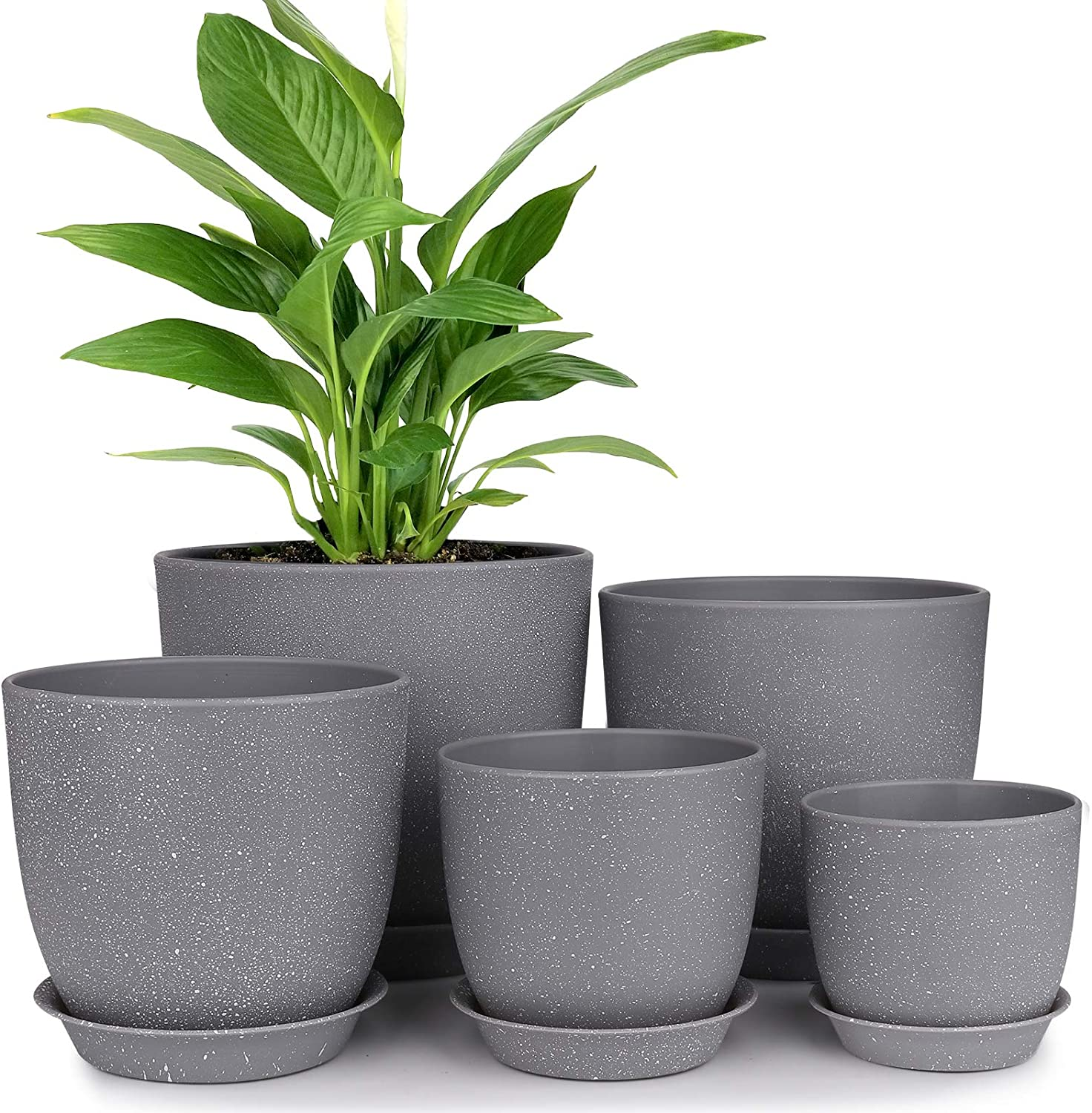 Plastic Planter, HOMENOTE 7/6/5.5/4.8/4.5 Inch Flower Pot Indoor Modern Decorative Plant Pots with Drain Hole and Saucer for All House Plants, Succulents, Flowers, Speckled Gray: Kitchen & Dining