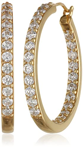 Platinum or Gold Plated Sterling Silver Inside-Out Hoop Earrings made with Swarovski Zirconia