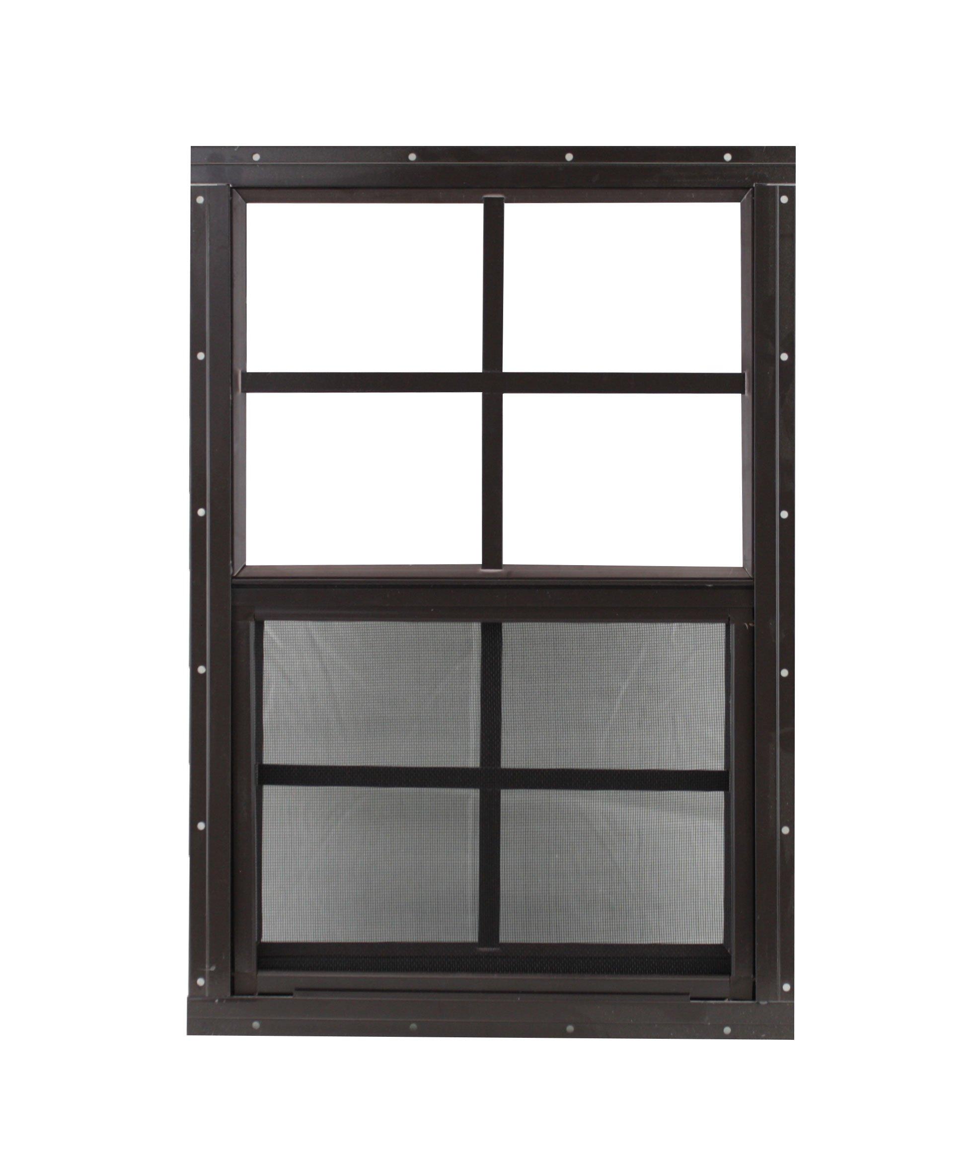 Play House Window 12 x 18 Brown Flush, Chicken Coop Window,Shed Window