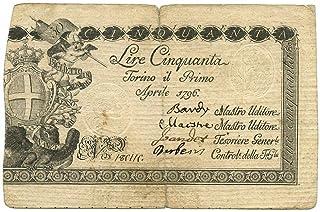 Cartamoneta.com 50 Lire Regno di Sardegna REGIE FINANZE di Torino 01/04/1796 qBB