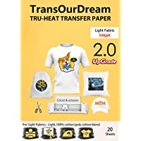 TransOurDream Upgraded Iron on Heat Transfer Paper for T Shirts (20 Sheets, A4) Iron-on Transfers Paper for Light Fabric…