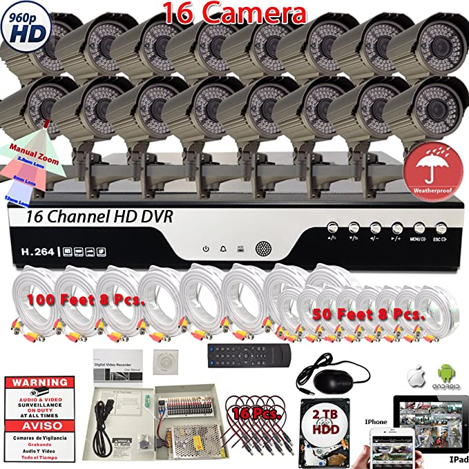 Amazon.com : Evertech 16 Channel HD DVR w/ 16 pcs 4in1 AHD TVI CVI ANALOG 1080P Varifocal Manual Zoom Bullet HD CCTV Home Security Camera System Set w/ 2TB ...
