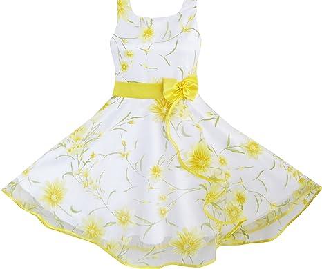 Sunboree Mädchen Kleid 3 Schichten Sonnenblume Welle Festzug ...