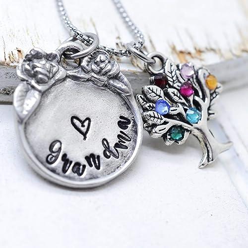 7c6f3d583207d Amazon.com: Grandma Family Tree Necklace with Kids Birthstones ...
