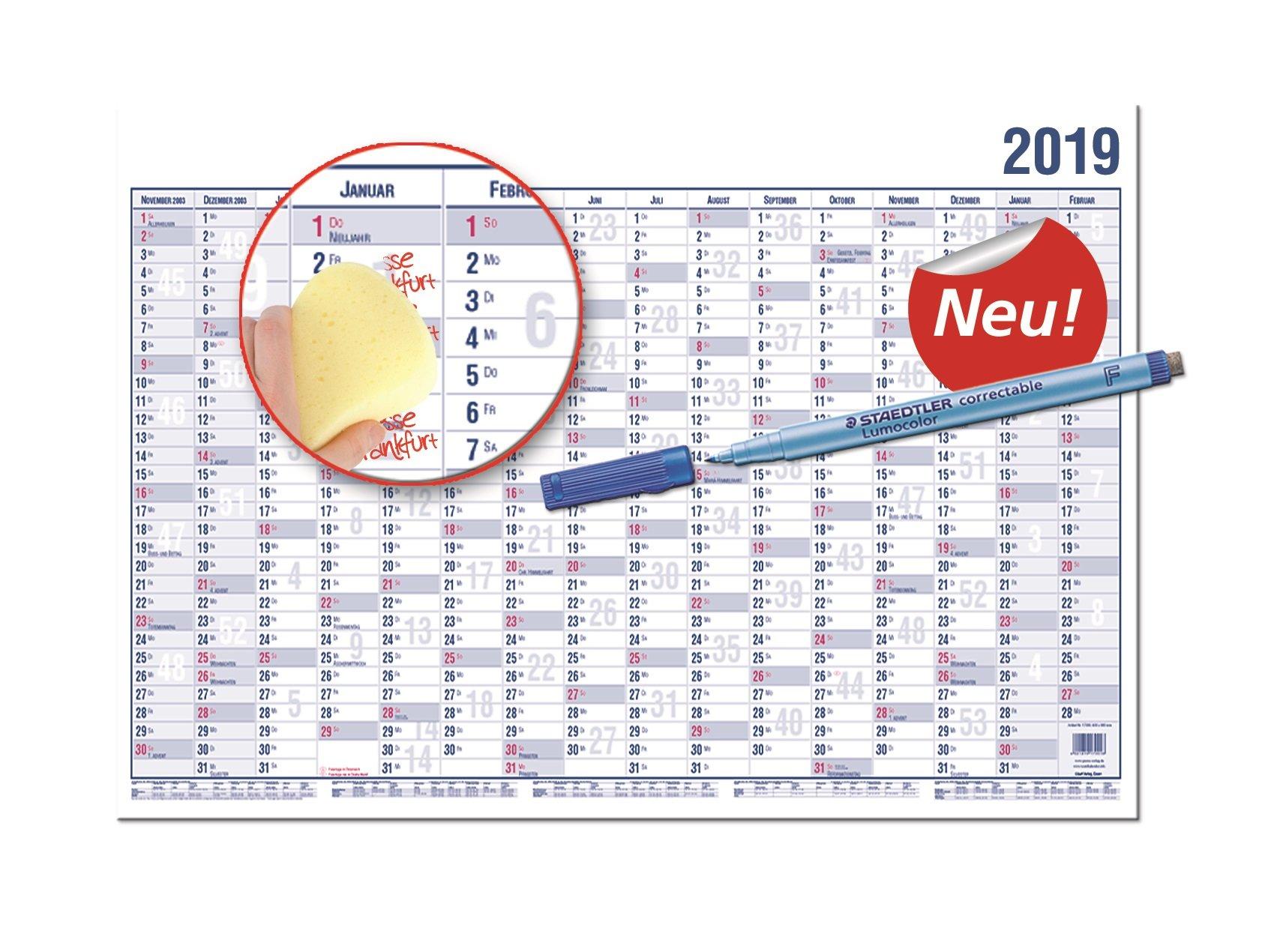GÜSS® Wandplaner 2019 DIN A0, 16 Monate - mit Beschichtung, Nr. 16000mB