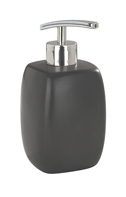 Wenko 20021100 Dispensador jabón Faro negro, 0.44 L, Cerámica, 8 x 15 x