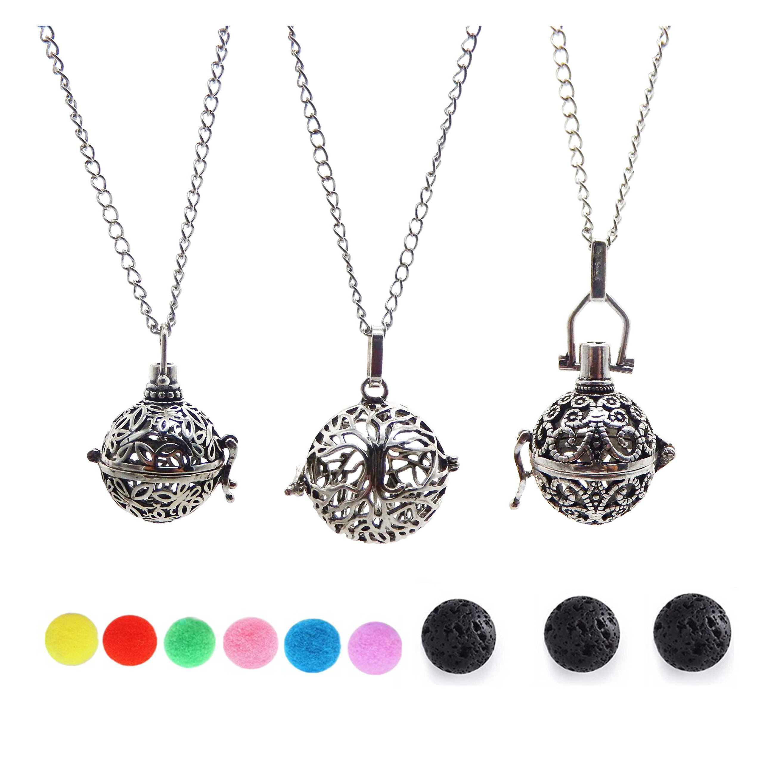 Julie Wang 3PCS Vintage Silver Essential Oil Diffuser Necklace Aromatherapy Pendant Perfume Jewelry Tree/Wave/Butterfly Cage with Lava Beads