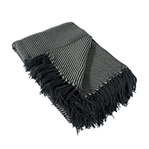 """DII Home Essential Chevron Luxury Throw for Indoor/Outdoor Use, Camping, BBQ's, Beaches, Everyday Blanket, 48x67"""", Gray"""