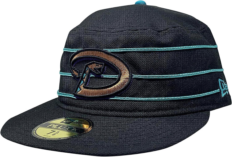 New Era Arizona Diamondbacks Pillbox Cap Flat Brim Hat 7 5//8, Black