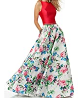 Lisa Two Piece Beaded Floral Satin Open Back Prom Dresses Long Gown LS265