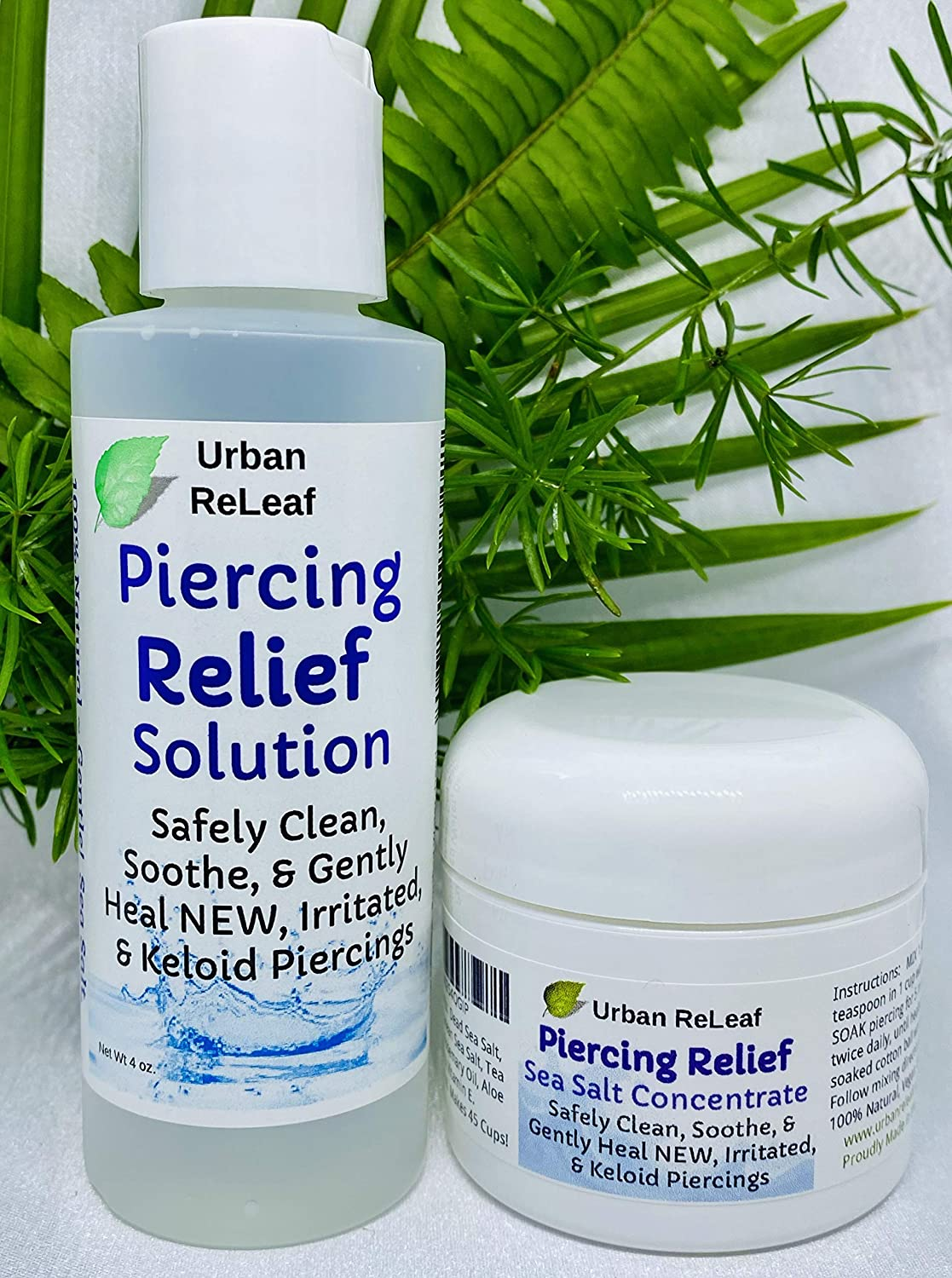 Set of Urban ReLeaf Piercing Relief Solution & Sea Salt Concentrate ! Gentle, Effective Aftercare and Refill Salts. Fast Help for Irritated, Keloid, Fussy & Problem Piercings, 100% Natural Soothing