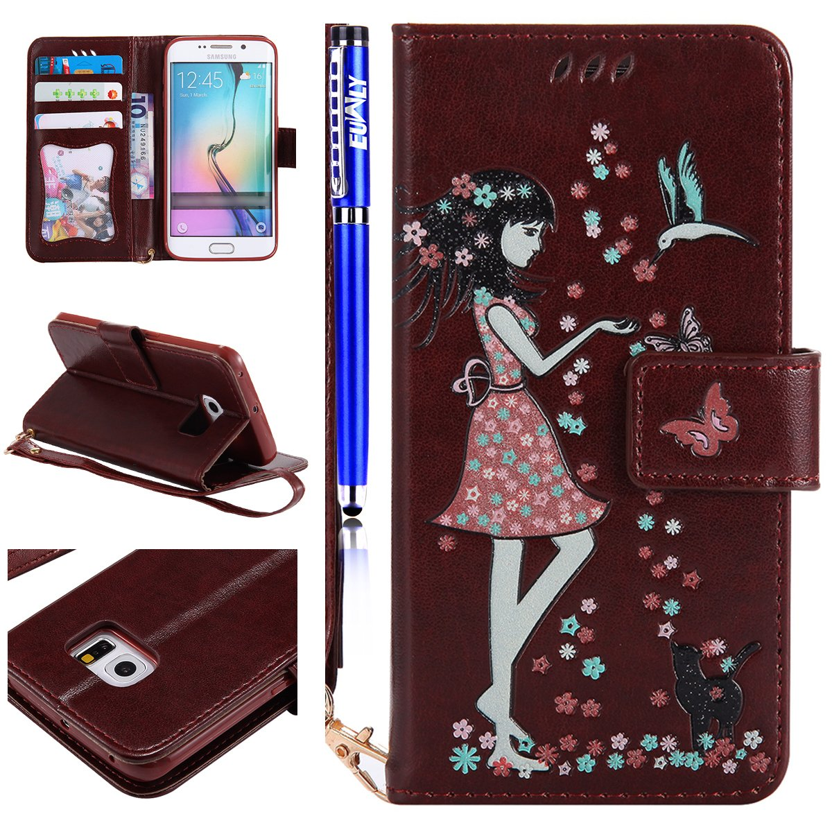coque galaxy s6 portefeuille fille