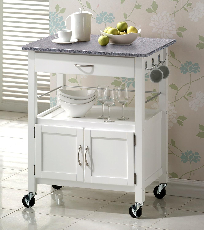 kitchen island cart granite top. York White Painted Hevea Hardwood Kitchen Trolley Island With Grey Granite Top Large Cart 73cms: Amazon.co.uk: \u0026 Home