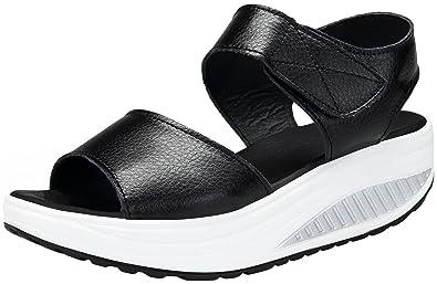 DAFENP Zapatos de Mujer Cuña Sandalias Plataforma Malla Respirable Peep Toe Shape Ups Andar Deporte Zapatilla,lx308-black2-EU40: Amazon.es: Zapatos y ...