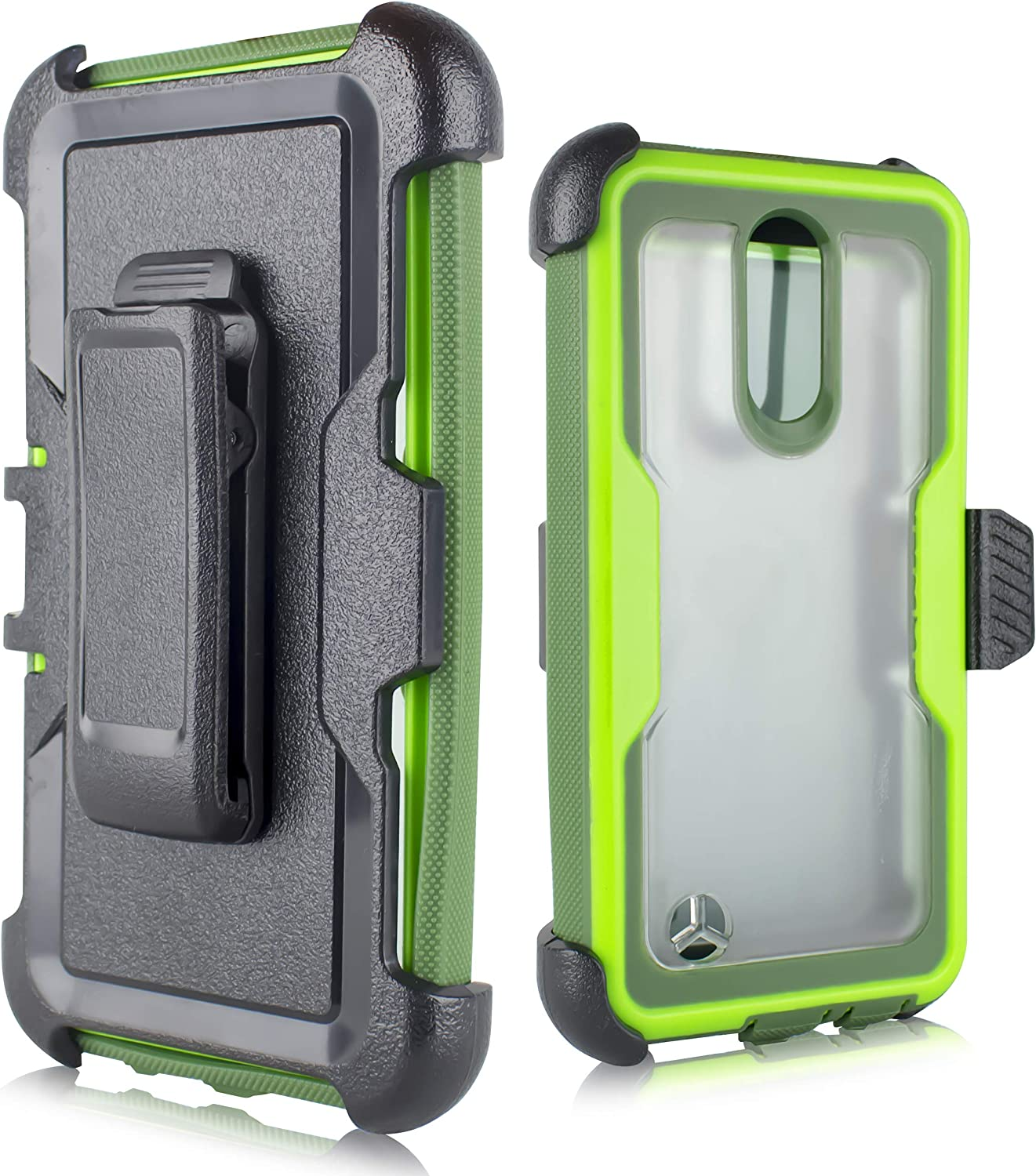 LG Aristo Case, LG Fortune Case,LG Phoenix 3/LG K8 2017/LG Rebel 2 Case, [Built in Screen Protector] Heavy Duty Protection Belt Swivel Clip Holster with Kickstand [Clear Back] (Green)