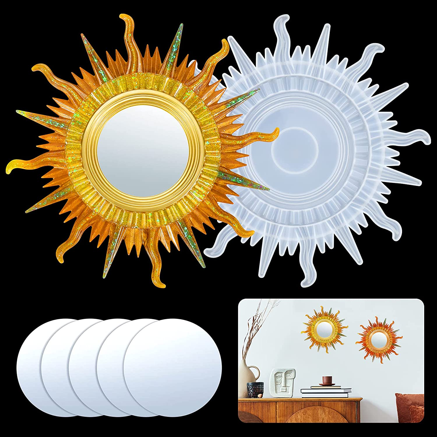 Juome Resin Silicone Mold, Wall Mirror Mold for Epoxy Resin, Sunburst Round Mirror Epoxy Casting Mold for Wall/Room/Home Decor, Decorative Circle Mirrors Mould, DIY Clay Crafts