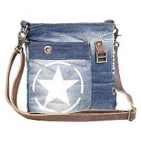 Myra Bag Star Denim Upcycled Canvas Cotton & Leather Shoulder Bag S-1627