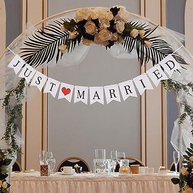 KAKOO Mr /& Mrs Buchstaben Zeichen Hochzeit Tisch Dekoration mit Just Married Banner Papier Girlande Vintage//Rustikal Hochzeitdekoration Herr Frau Foto Requisiten Braut Dusche Auto Deko