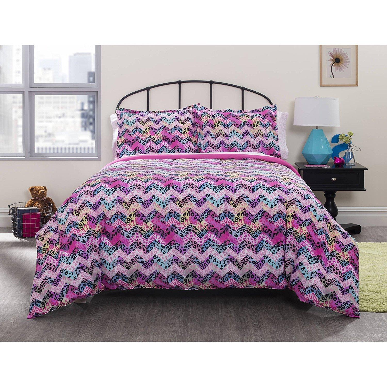 7 PIece Girls Cheetah Chevron Pattern Comforter Sheets Set Queen Set, Abstract Purple Blue Yellow, Bedding, Stylish African Safari Zoo Animal Zig Zag Stripes Design