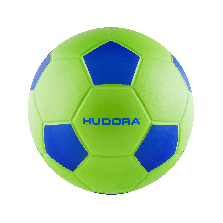 Hudora Taille 4–71693Football Ballon Souple, Vert/Bleu, One Size HUDAC|#Hudora