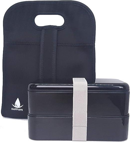 kappami Bento Lunch Box Negro 2 compartimentos con manteles ...