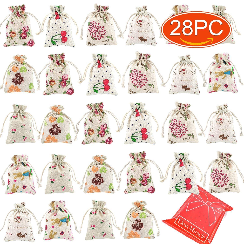 Elesa Miracle 28pcs Retro Flower Cotton Canvas Jewelry Pouch Bag, Drawstring Coin Purse, Gift Bag Value Set