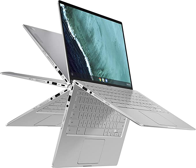 "Amazon.com: ASUS Chromebook Flip C434 2-In-1 Laptop, 14"" Full HD Touchscreen 4-Way NanoEdge, Intel Core M3-8100Y Processor, 4GB RAM, 64GB eMMC Storage, All-Metal Body, Backlit KB, Chrome OS- C434TA-DSM4T, Silver: Computers & Accessories"