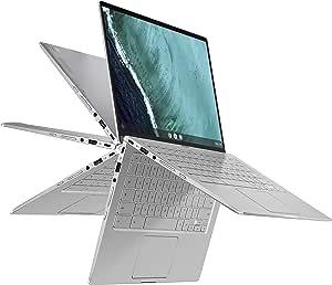 "ASUS Chromebook Flip C434 2 in 1 Laptop, 14"" Touchscreen FHD 4-Way NanoEdge Display, Intel Core M3-8100Y Processor, 4GB RAM, 32GB eMMC Storage, Backlit Keyboard, Silver, Chrome OS, C434TA-DH342T"