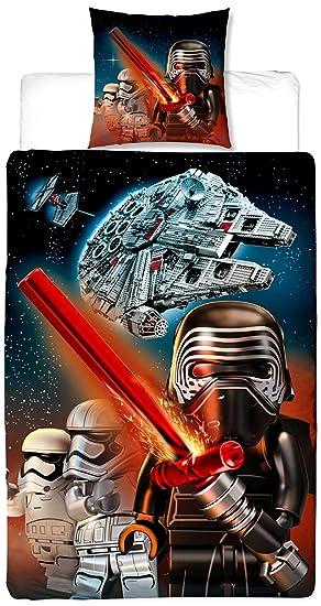 Biber Lego Kinder Wende-Bettwäsche Star Wars Millennium 135 x 200 + 80 x 80  cm 100% Baumwolle Biber Flanell Clone Starwars BB-8 Kylo Ren Stormtroopers  ...