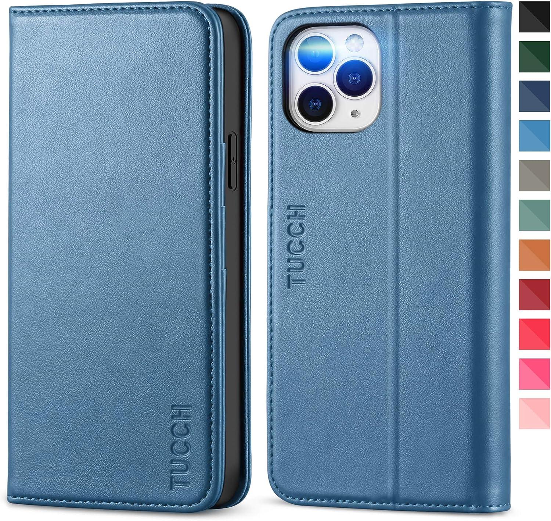 TUCCH Funda iPhone 12 Pro MAX, Funda Libro Protectora con Carcasa de TPU,Soporte Plegable, Ranura para Tarjeta, Funda de Cuero PU para iPhone 12 Pro MAX 5G (6.7 Pulgadas 2020), Azul Claro