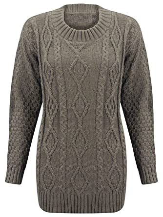 1e169614c M) WOMENS LONG SLEEVE CHUNKY DIAMOND CABLE KNITTED LADIES JUMPER ...