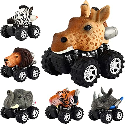 6 Styles Dinosaurs Figures Pull Back Cars Vehicle Toddlers Boys Toys Xmas Gift