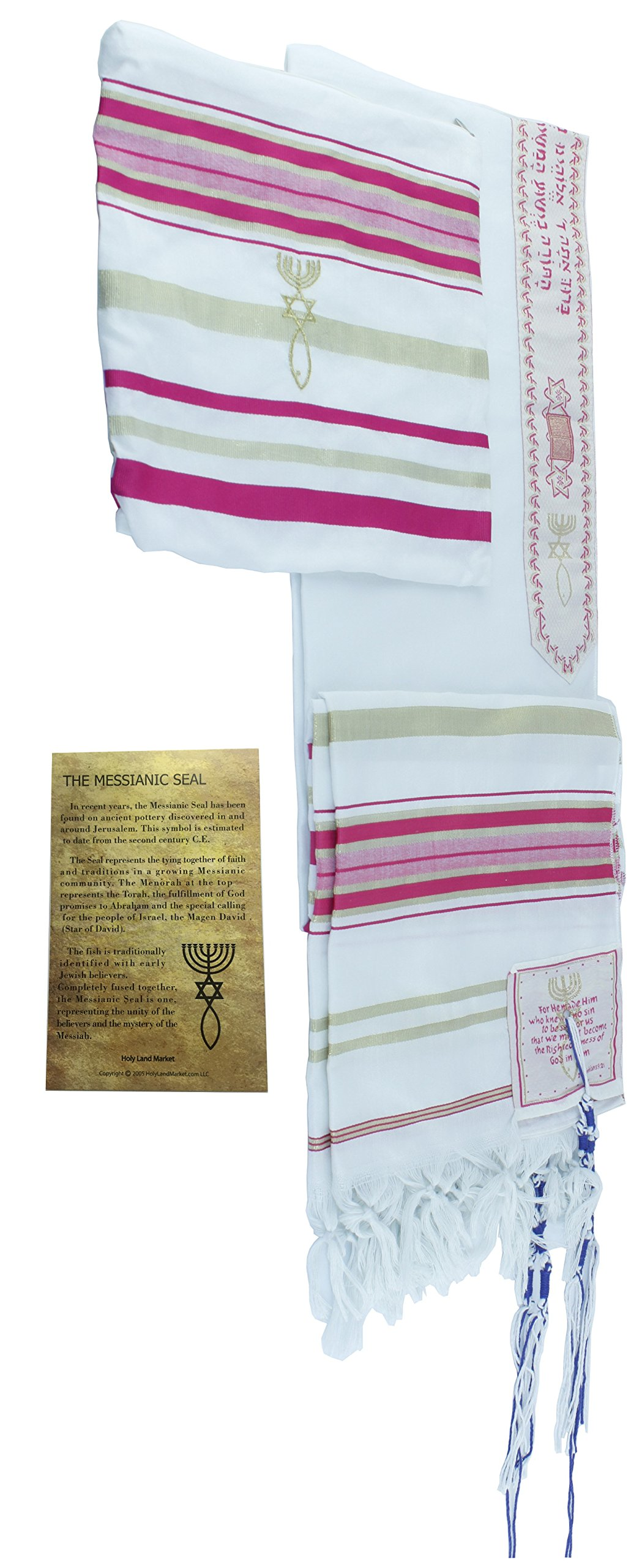 HolyLandMarket Womens Pink with Gold Messianic Shawl/Tallit - The Messiah Tallit