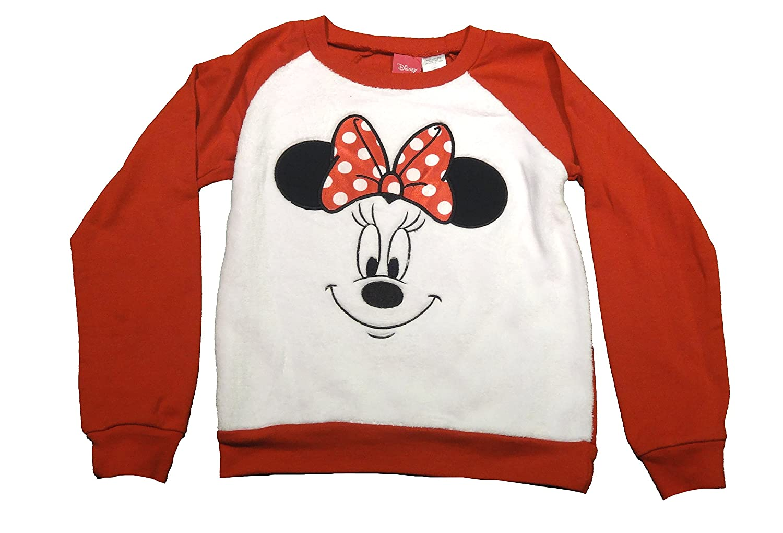 Disney Girls White Minky Red Minnie Long Sleeve Pullover Sweatshirt Shirt